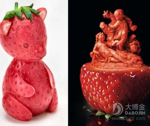 雕刻刀具下的水果雕刻艺术品